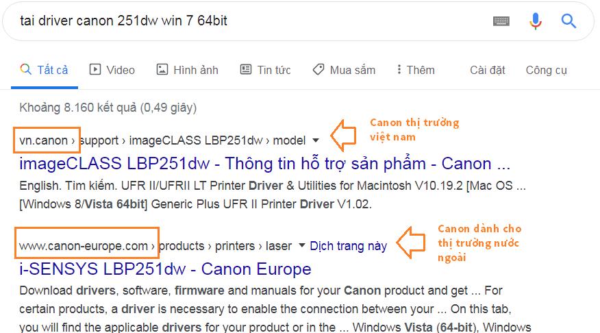 Cách download driver canon 251dw từ trang chủ canon