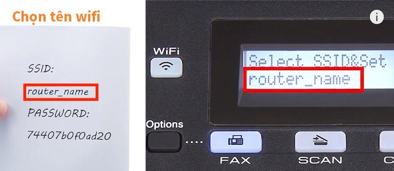 Chọn tên wifi để nối nối cho máy in