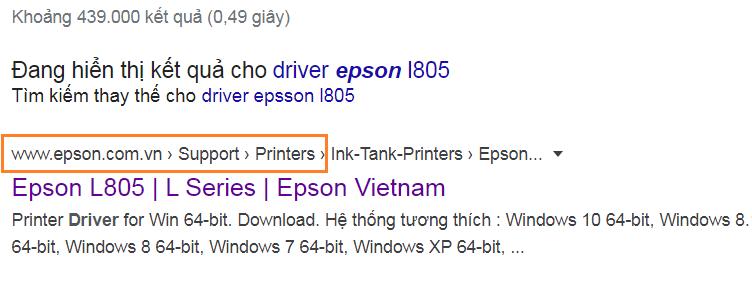 Link dowload driver epson l805 từ trang chủ epson