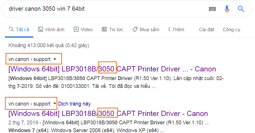 Link download driver canon 3050 từ trang chủ