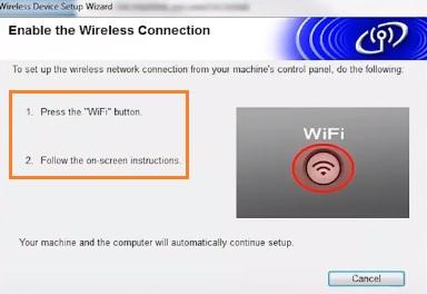 Nhấn nút wifi trên máy in brother để kết nối wifi