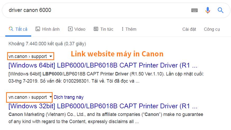 Nhận biết trang chủ máy in Canon