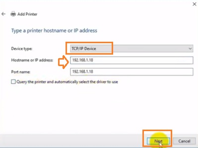 Nhập địa chỉ ip của máy in