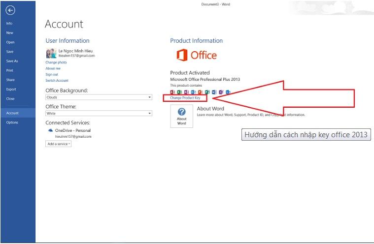 Hướng dẫn nhập key active office 2013