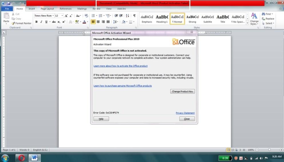 Lỗi office 2010 activation faild