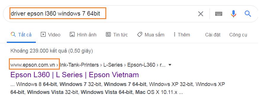 Link trang chủ máy in epson L360