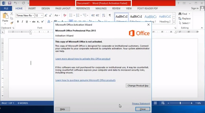 Office 2013 báo lỗi activation Failed