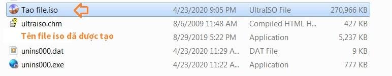 Tạo file định dạng ISO thành công