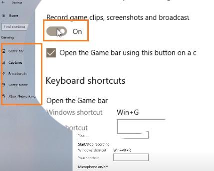 Bật tính năng quay màn hình desktop win 10
